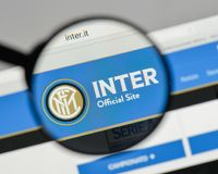 Milan, Italy - August 10, 2017: FC Internazionale logo on the we. Bsite homepage Stock Photo