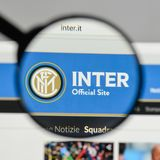 Milan, Italy - August 10, 2017: FC Internazionale logo on the we. Bsite homepage Royalty Free Stock Photography