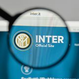 Milan, Italy - August 10, 2017: FC Internazionale logo on the we. Bsite homepage Royalty Free Stock Images