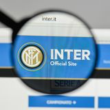Milan, Italy - August 10, 2017: FC Internazionale logo on the we. Bsite homepage Royalty Free Stock Photo