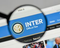 Milan, Italy - August 10, 2017: FC Internazionale logo on the we. Bsite homepage Stock Images