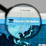 Milan, Italy - August 10, 2017: Freeport-McMoRan logo on the web. Site homepage stock images