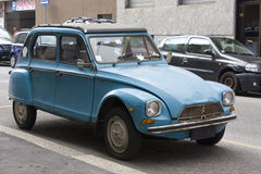 MILAN, ITALY-AUGUST 9, 2014: French motor car Citro?n 2CVs Parked in the city Stock Image