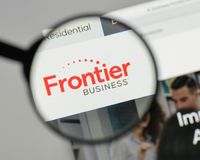 Milan, Italy - August 10, 2017: Frontier Communications logo on. The website homepage Stock Photos
