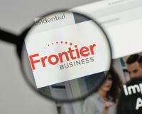 Milan, Italy - August 10, 2017: Frontier Communications logo on. The website homepage Stock Image