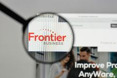 Milan, Italy - August 10, 2017: Frontier Communications logo on. The website homepage Royalty Free Stock Images
