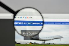 Milan, Italy - August 10, 2017: General Dynamics logo on the web. Site homepage Stock Images