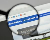 Milan, Italy - August 10, 2017: General Dynamics logo on the web. Site homepage Stock Photography