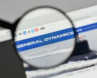 Milan, Italy - August 10, 2017: General Dynamics logo on the web. Site homepage Stock Photo