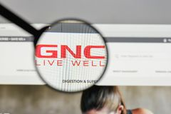 Milan, Italy - August 10, 2017: GNC Holdings logo on the website. Homepage Stock Images