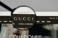 Milan, Italy - August 10, 2017: Gucci logo on the website homepage. stock photos