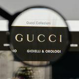 Milan, Italy - August 10, 2017: Gucci logo on the website homepage. stock images