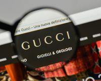Milan, Italy - August 10, 2017: Gucci logo on the website homepage. stock photography