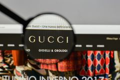 Milan, Italy - August 10, 2017: Gucci logo on the website homepage. royalty free stock images
