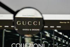 Milan, Italy - August 10, 2017: Gucci logo on the website homepage. royalty free stock image