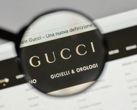Milan, Italy - August 10, 2017: Gucci logo on the website homepage. stock image