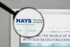 Milan, Italy - August 10, 2017: HAYS logo on the website homepag. E Royalty Free Stock Images