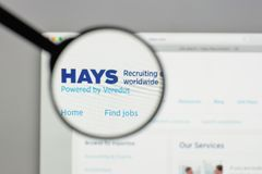 Milan, Italy - August 10, 2017: HAYS logo on the website homepag. E Royalty Free Stock Image