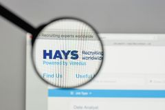 Milan, Italy - August 10, 2017: HAYS logo on the website homepag. E Royalty Free Stock Photography