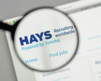Milan, Italy - August 10, 2017: HAYS logo on the website homepag. E Royalty Free Stock Photos