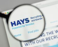 Milan, Italy - August 10, 2017: HAYS logo on the website homepag. E Royalty Free Stock Photo