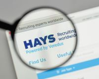 Milan, Italy - August 10, 2017: HAYS logo on the website homepag. E Stock Photo