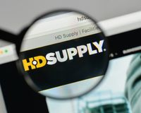 Milan, Italy - August 10, 2017: HD Supply Holdings logo on the w. Ebsite homepage Stock Image
