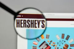 Milan, Italy - August 10, 2017: Hershey logo on the website home. Page Royalty Free Stock Images