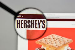 Milan, Italy - August 10, 2017: Hershey logo on the website home. Page Stock Photography