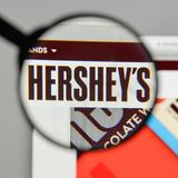 Milan, Italy - August 10, 2017: Hershey logo on the website home. Page Stock Images
