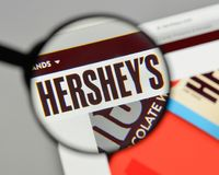 Milan, Italy - August 10, 2017: Hershey logo on the website home. Page Royalty Free Stock Photography