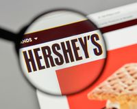 Milan, Italy - August 10, 2017: Hershey logo on the website home. Page Royalty Free Stock Photos