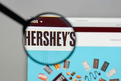Milan, Italy - August 10, 2017: Hershey logo on the website home. Page Royalty Free Stock Image