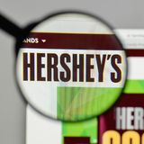 Milan, Italy - August 10, 2017: Hershey logo on the website home. Page Royalty Free Stock Photo