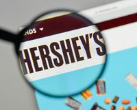 Milan, Italy - August 10, 2017: Hershey logo on the website home. Page Stock Photos