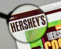 Milan, Italy - August 10, 2017: Hershey logo on the website home. Page Stock Photo