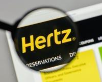Milan, Italy - August 10, 2017: Hertz logo on the website homepa. Ge Royalty Free Stock Image