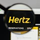 Milan, Italy - August 10, 2017: Hertz logo on the website homepa. Ge Stock Photos