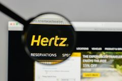 Milan, Italy - August 10, 2017: Hertz logo on the website homepa. Ge Royalty Free Stock Photos