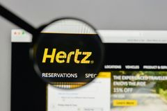 Milan, Italy - August 10, 2017: Hertz logo on the website homepa. Ge Royalty Free Stock Photo
