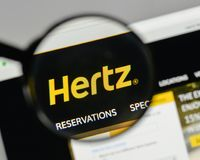 Milan, Italy - August 10, 2017: Hertz logo on the website homepa. Ge Royalty Free Stock Images