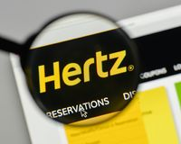 Milan, Italy - August 10, 2017: Hertz logo on the website homepa. Ge Stock Photography
