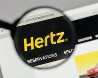 Milan, Italy - August 10, 2017: Hertz logo on the website homepa. Ge Stock Photo