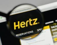 Milan, Italy - August 10, 2017: Hertz logo on the website homepa. Ge Royalty Free Stock Photo