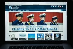 Milan, Italy - August 10, 2017: Homeland Security website homepa. Ge. It is a cabinet department of the United States federal government with responsibilities in Royalty Free Stock Photos