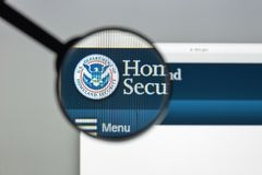 Milan, Italy - August 10, 2017: Homeland Security website homepa. Ge. It is a cabinet department of the United States federal government with responsibilities in Stock Photography