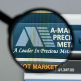 Milan, Italy - August 10, 2017: A-Mark Precious Metals website h. Omepage. It is a precious metals trading company. A-Mark logo visible Stock Image