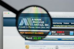 Milan, Italy - August 10, 2017: A-Mark Precious Metals website h. Omepage. It is a precious metals trading company. A-Mark logo visible Stock Photos