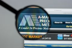 Milan, Italy - August 10, 2017: A-Mark Precious Metals website h. Omepage. It is a precious metals trading company. A-Mark logo visible Stock Photo