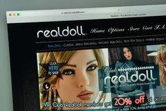 Milan, Italy - August 10, 2017: Realdoll website homepage.  logo Stock Images